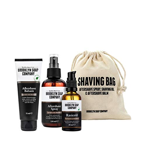 Brooklyn Soap Company: Shaving Bag · Hochwertiges Rasur-Set für Männer · Aftershave Balsam, Aftershave Spray und Rasieröl