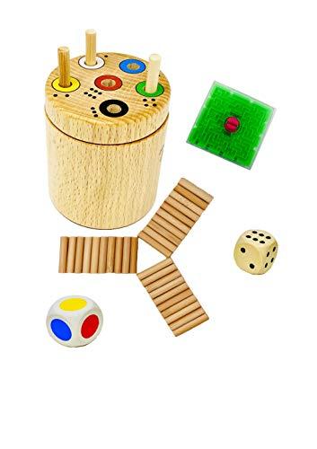 Spiel: Ab in die Box rund + Gratis 1 Minis Balance Spiel   Spaß für die ganze Familie und für Kinder ab 2 zum Lernen von Zahlen und Farben   Lernspiel   Würfelspiel   Reisespiele für unterwegs (Rund)