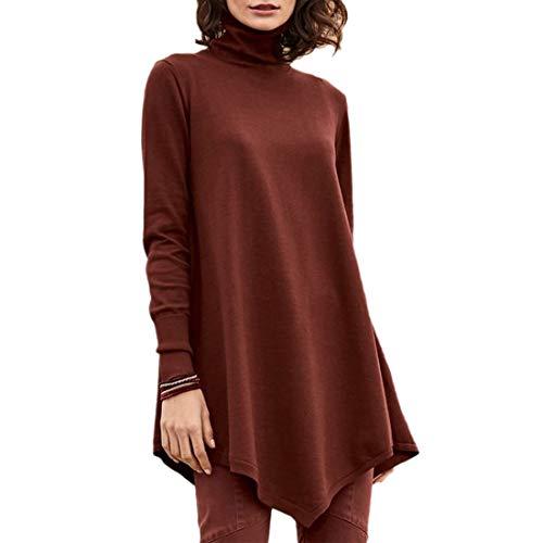 Camisa de Manga Larga para Mujer Cuello Alto Primavera y otoño Camisa de Manga Larga Blusa Larga Casual Dobladillo Ondulado Cuello Alto Moda de la Cintura Escote de Carey suéter Elegante Delgado