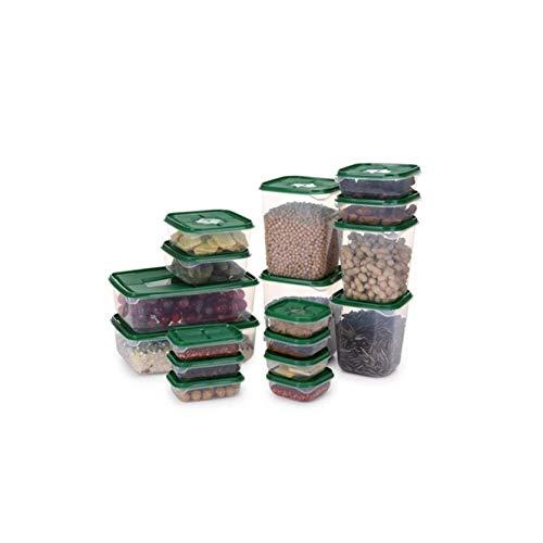 Larew Caja de almacenamiento de alimentos apilable Contenedores de almacenamiento de alimentos con tapas y mango para frutas, verduras, granos, café, nuez huevo (juego de 17 unidades)
