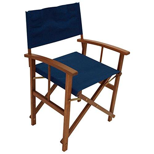 DEGAMO 2er Set Regiesessel klappbar, Gestell Eukalyptusholz, Bezug dunkelblau, FSC®-Zertifiziert