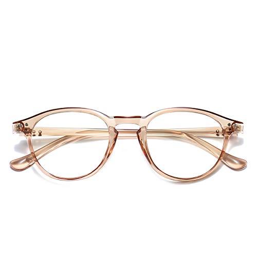 Blaulichtfilter Brille Computerbrille ohne sehstärke Anti-Blaulicht Klassische Rund Frame Gaming Brille für Damen Herren Transparent Tee