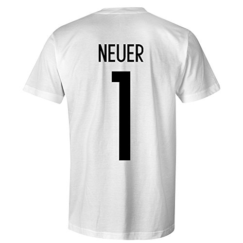 Manuel Neuer 1 Germany International Kids Football T-Shirt White/Black, Medium Boys (7-8yrs)