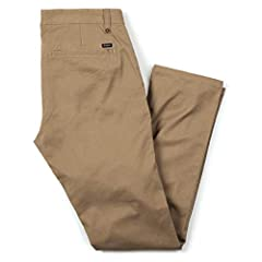 """Straight-leg chino in 9-oz. stretch fabrication featuring tonal stitching and welted back pockets Zip fly with button Leg opening: 16"""""""