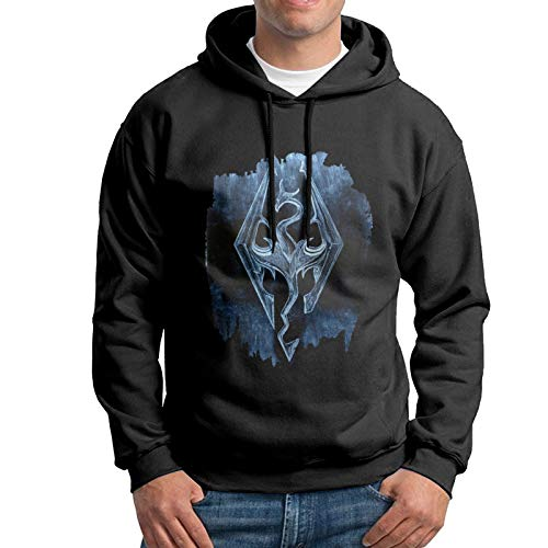 Men's Cotton Pullover Warm Hoodie Sweatshirt Black Print Welcome to Skyrim Hooded Shirts with Pocket 3X-Large