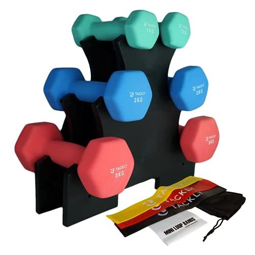 Tackly Set Manubri Palestra in Casa con Elastico Fitness - Kit pesetti...