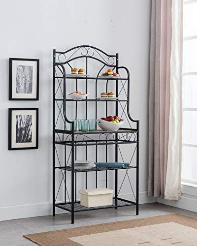 Kings Brand Furniture – Black Metal / Faux Stone 5-Tier Kitchen Storage Bakers Rack
