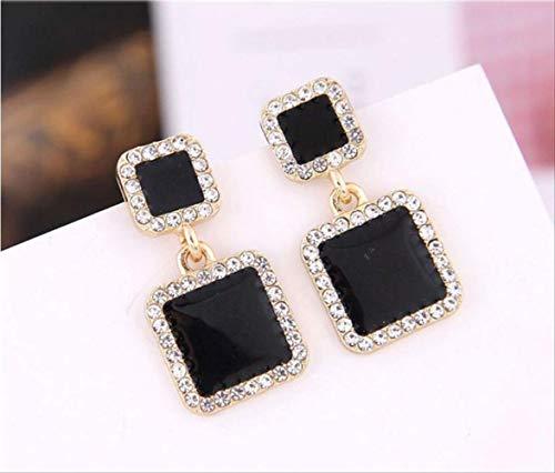 Oor manchetten voor vrouwen oorbellen Zwart vierkant geometrische oorbellen voor vrouwen Crystal Wedding Rhinestone Earring Gold Color