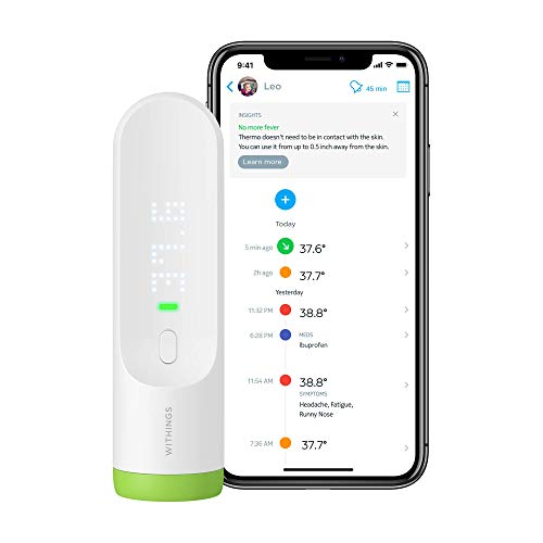 Withings Thermo - Smart Temporal Thermometer, FSA-Eligible, Suitable for Baby, Infant, Toddler and Adults, No Contact Required