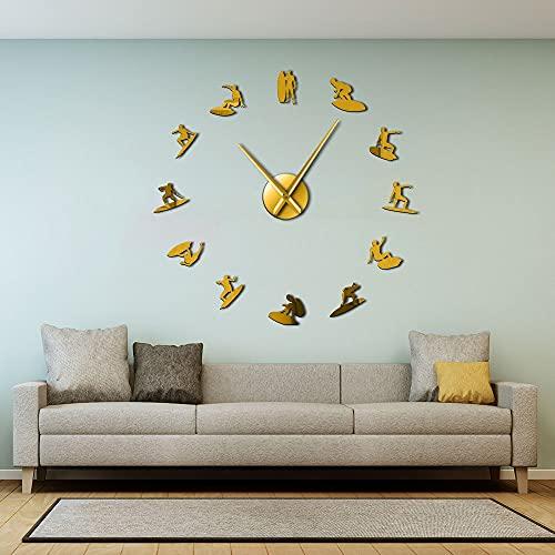 Siluetas de Surfing Wall Art Mirror Pegatinas DIY Reloj de pared grande Deporte acuático Wakeboarding Surfers Decoración del hogar Relojes de pared modernos (oro、37\')