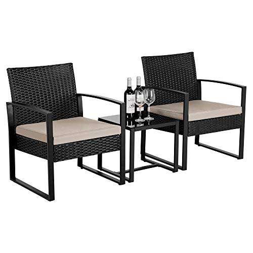 Yaheetech Garden Patio Furniture Sets Rattan Dining Chairs and Table 2 Seaters Weaving Wicker Chairs with Cushion Black & Beige
