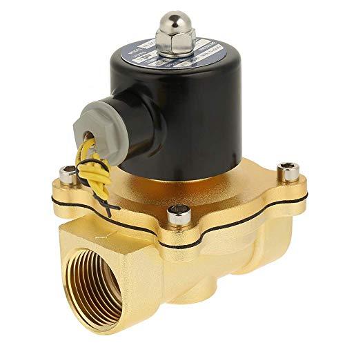 FYYONG Válvula solenoide eléctrica DC 12V de latón 2V, válvula solenoide eléctrica normalmente cerrada de 1 pulgada de 2 pulgadas