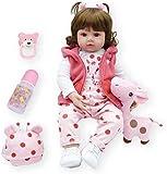 PODE DAR BANHO: Esta boneca é feita com silicone completo, diferente da boneca comum no mercado. Tem uma sensação de toque melhor e parece mais um bebê de verdade. Conteúdo da Embalagem: 1 Bebê Reborn com roupas, 1 Mamadeira, 1 Chupeta Magnética, 1 T...