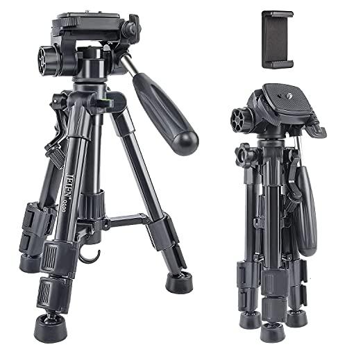 JEIFN Q100 - Mini trípode de viaje para cámara réflex digital (3 vías, cabezal de inclinación, zapata rápida de 6,35 mm y funda de transporte para trípode de cámara réflex digital), color negro