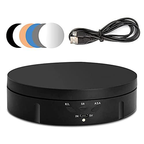 Giratoria eléctrica giratoria para fotografía, 90/180/360 grados ajustable motorizado giratorio soporte pantalla mesa para video en vivo plataforma giratoria reloj de joyería con 6 fondos (negro)