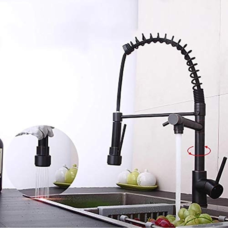 Frühjahr Küche Wasserhahn, 2-griff Mixer Küchenarmaturen Tropffreie Bleifreie Waschbecken 2-wege Outlet-Schwarz