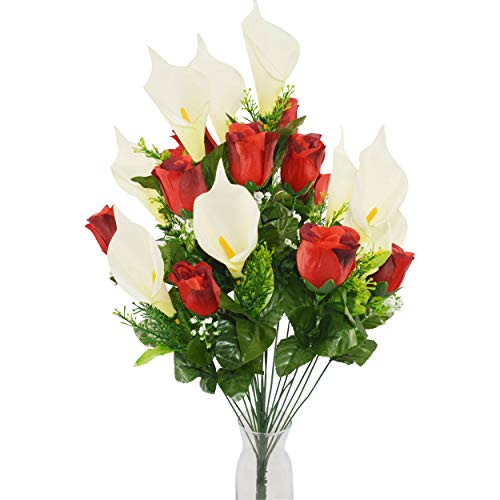 xunniu Fiori Artificiali Fiori Finti Bouquet di Simulazione di Rosa Giglio di Calla Artificiale Bouquet di Plastica 24 Pezzi Tavolo da Pranzo Casa All'Aperto Matrimonio Cimitero Bouquet(Rosso)