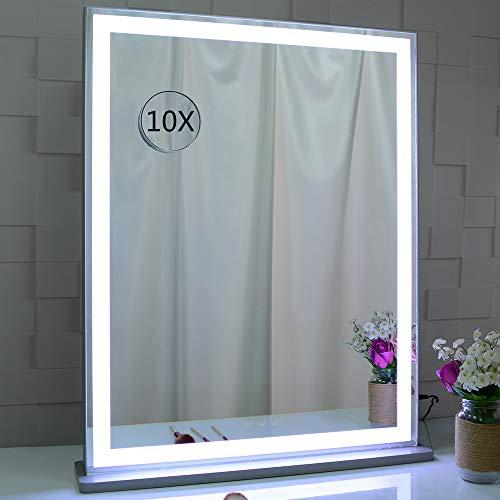 BEAUTME Espejo de tocador con luces LED retroiluminadas, espejo de maquillaje de mesa con tira de luz LED, 3 modos de color con atenuador, espejo de tocador de pantalla táctil plateado