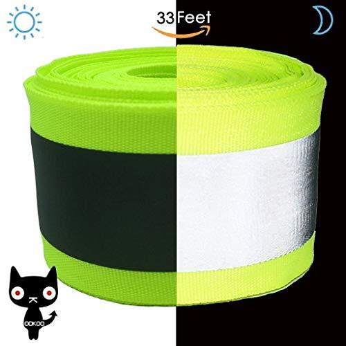 OOKOO - Cinta de seguridad reflectante de tela apta para coser a la ropa con área reflectante grande, color verde