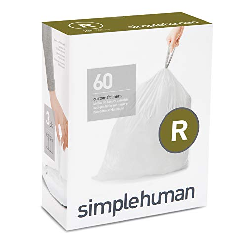Price comparison product image simplehuman Code R Custom Fit Drawstring Trash Bags 10 Liter / 2.6 Gallon,  White,  60 Count
