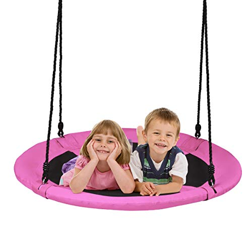 DREAMADE Nestschaukel Garten Schaukel höheverstellbar für In- und Outdoor, Tellerschaukel Rundschaukel Hängeschaukel für Kinder & Erwachsene, φ100 cm, max.150 kg belastbar (Pink)