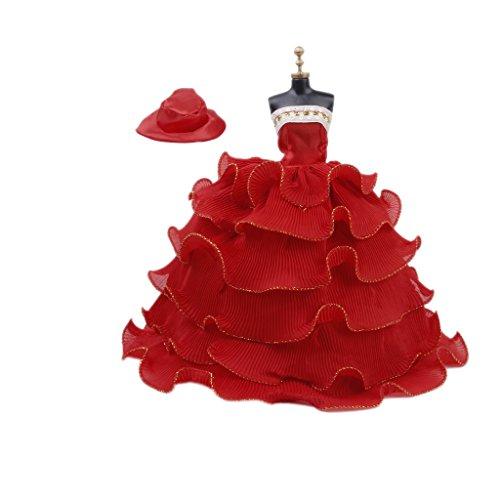 Robe 6-Couches sans Bretelles avec Chapeau pour Poupée Faveur Nuptiale de Noce - Rouge