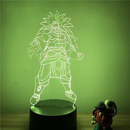 DBZ Super Saiyan Broly Broli Lámpara Luz de noche LED Lámpara de pintura 3D Lámpara de brillo de control táctil regulable,Decoración de con carga USB