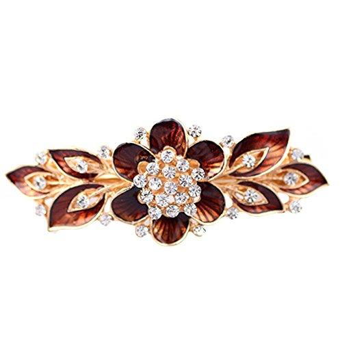 Yazilind Elegante Schmucksachen reizend Blumenart-Gold überzogenes Brauthaar-Zusatz Shinning Rhinestone-Kristallhaar-Barrette für Frauen-Klipp-Haar-Haarnadeln (Brown)
