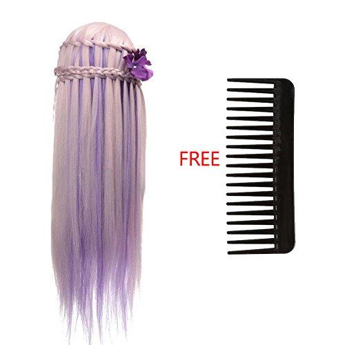 GAESHOW 26 '' Coloré Salon De Coiffure Cheveux Formation Pratique Mannequin Modèle Tête Avec Un Peigne Gratuit Cosmétologie Formation Tête Femme Mannequin Tête(01)