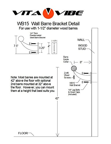 Vita Vibe WS192-W Single Bar Traditional Wood Fixed Height Wall Mount Ballet Barre System, 16-Feet