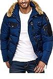 Cipo & Baxx Chaqueta acolchada de invierno para hombre con capucha, parka, abrigo, chaqueta de invierno azul marino L