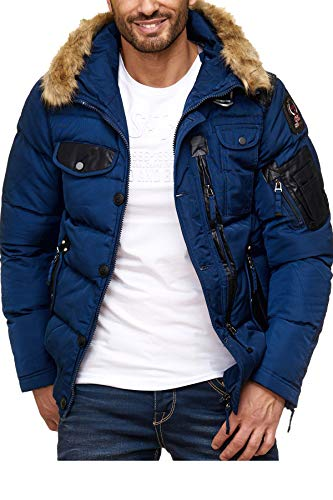 Cipo & Baxx Herren Steppjacke Winterjacke Jacke Kapuzenjacke Parka Mantel Winter Jacke Navyblau L
