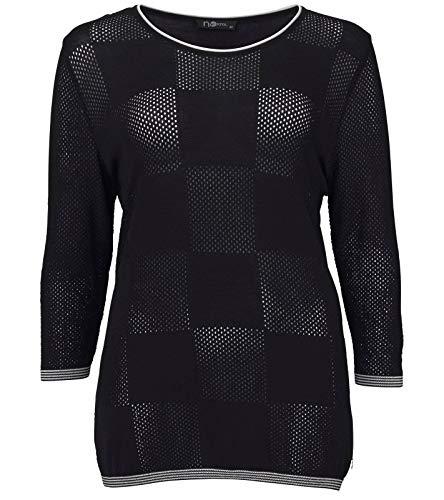 No Secret Pullover strukturierter Damen Strick-Pulli mit Karree-Form vorn Rundhals-Pullover Mode-Pulli Schwarz/Weiß, Größe:42