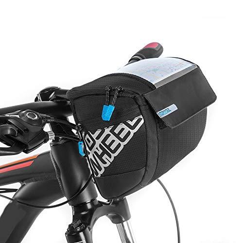 Docooler Fahrrad Lenkertasche multifunktional mit Transparentem PVC-Sichtfenster (15 * 12.2 cm) für Handy, Total 3L, wasserdichtes Material, 20 * 10.5 * 16cm