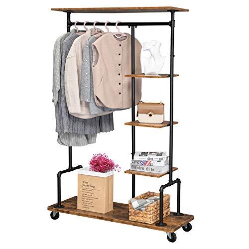 VINGLI 5-Tier Rustic Clothing Garment Rack, Iudustrial Pipe Hall Tree Open Wardrobe Closet Storage Organizer w/Rolling Wheels, Storage Shelves for Entryway, Living Room, Bedroom