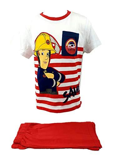 Feuerwehrmann Sam Pyjama Schlafanzug Fireman kurz T-Shirt Hose rot Gr. 116