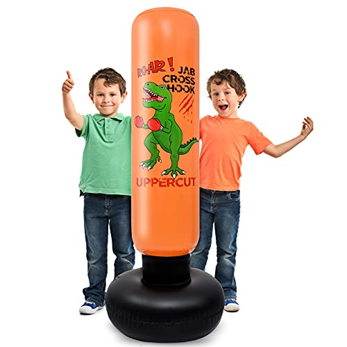 Dinosaur Inflatable Punching Bag - 140 cm Inflatable Boxing Punch Bags for Kids Free Standing Punch Bag for Immediate Bounce Back Bop Bag Exercise Stress Relief Dinosaur Design