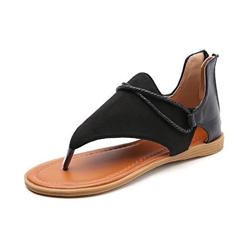 Tilocow Posh Gladiator Sandals For Women Comfort Black Flat Sandals Summer Shoes Vintage Flip Flops