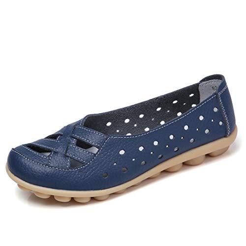 Z.SUO Damen Mokassins Bootsschuhe Leder Loafers Schuhe Flatschuhe Halbschuhe Flache Fahren Halbschuhe Slippers (43 EU, Dunkelblau)