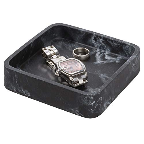 Price comparison product image iDesign Small Tray for Makeup and Jewellery on the Sink,  Makeup Holder Made of Synthetic Resin with Marble Look,  Square Drawer and Dressing Table Organiser,  Black