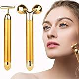 2-in-1 Face Massager Roller, 24k Facial Golden Pulse Electric 3D Roller and T Shape Arm Eye Nose Head Massager Instant Face Lift, Anti-Wrinkles, Skin Tightening, Face Firming