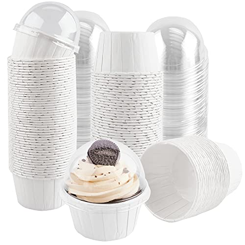 Ocmoiy 50 Pack Cupcake Liners with Dome Lids, Disposable Paper Baking Cups for Oven, Individual Cupcake Containers for Packaging Cupcake and Muffins Puddings Desserts