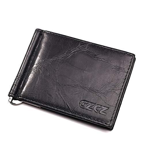 Mode Echtes Leder Brieftasche Kurz Stil Modische Herrenbrieftasche Europäische und amerikanische Geschäft American Dollar Wallet Identification Wallet langlebig ( Color : Black , Size : S )