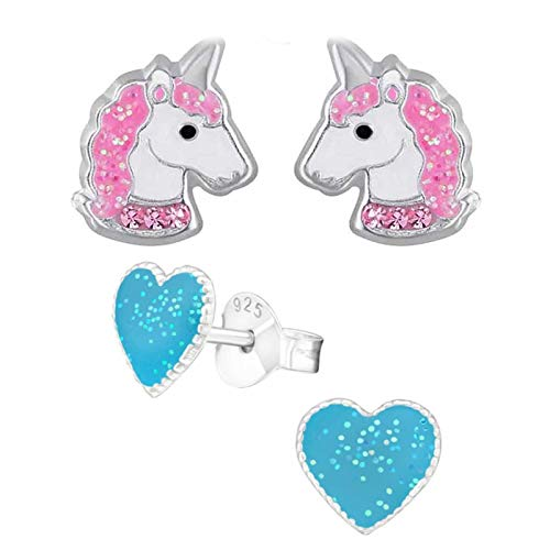 FIVE-D, 2 x orecchini per bambini a forma di unicorno, in argento Sterling 925 e Argento, colore: Cuore blu – Unicorno, cod. SL-kinderohrstecker567-X