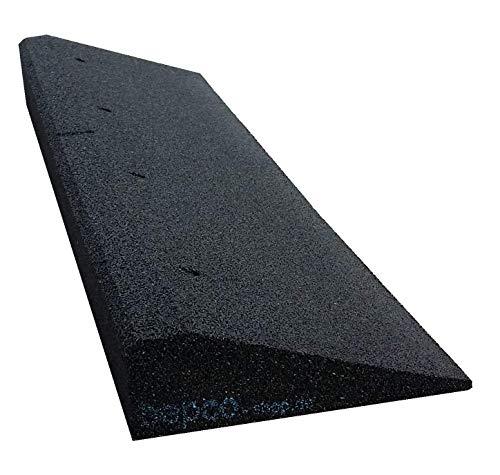 bepco Bordsteinkanten-Rampe aus Gummifasern (schwarz) - Auffahrrampe - Türschwellenrampe mit eingelagerten Unterlegscheiben zur Befestigung (100 x 25 x 6 cm)