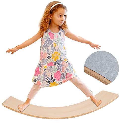 Glintoper Wooden Wobble Balance Board, 27.5 Inch Kid Natural Wood Yoga Board Curvy Board, Kids Toddler Open Ended Learning Toy, Great Kids Learning Toy for Body Training, Wooden Rocker Board Kid Size
