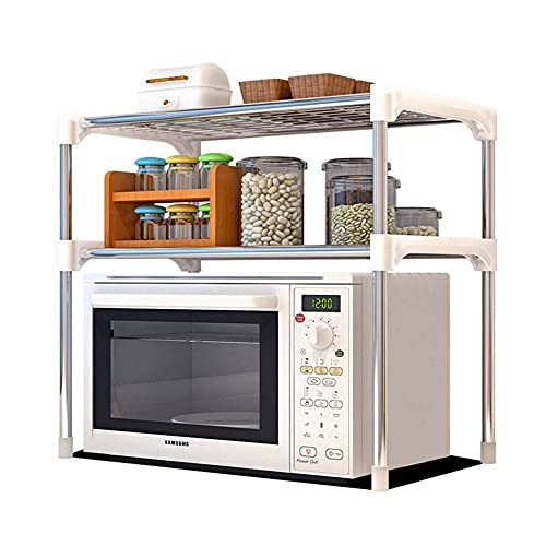 Subobo Estante para horno de microondas 2 capas de cocina, soporte organizador de horno de microondas, soporte de metal para cocina multifuncional