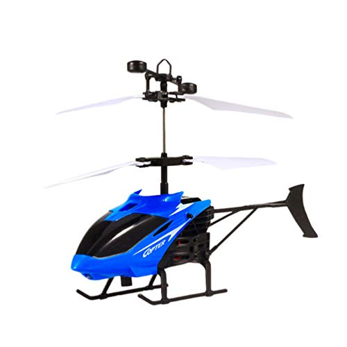 Toyvian Helicóptero de controle remoto mini helicóptero infravermelho, brinquedo, sensor infravermelho, gesto, helicóptero azul