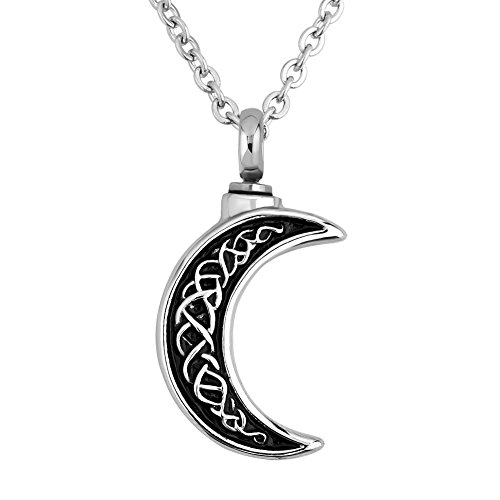 Engraved Celtic Crescent Moon Urn Necklace for Ashes Cremation Jewelry Keepsake Memorial for Dad Mom Men Women