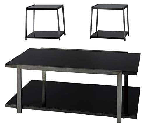 Signature Design by Ashley - Rollynx Modern 3-Piece Occasional Table Set - Includes Cocktail Table & Two End Tables, Black